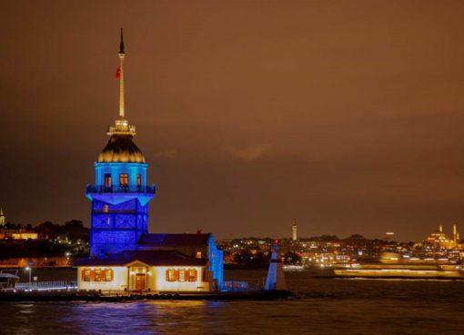 UNICEF farkındalık etkinliği ile şehirler maviye boyandı
