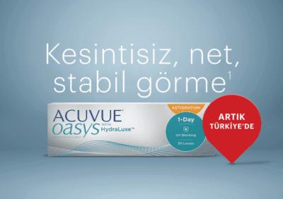 Johnson & Johnson Vision'ın, göz kapağı ile stabil olan tasarım ve HydraLuxe™ teknolojisiyle kalıcı ve net görüş, aynı zamanda maksimum konfor2 sağlayan günlük kullan-at kontakt lensi ACUVUE OASYS® 1-Day for ASTIGMATISM Türkiye'de satışa sunulmaya başladı.